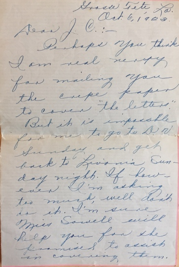 Letter from Mary Ernestine Bush to J. C. Bergeron